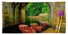 Rowing Boats In Durham City Beach Towel