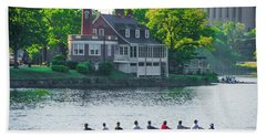 Beach Towel featuring the photograph Rowing Crew In Philadelphia In The Spring by Bill Cannon