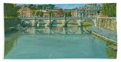Rowing On The Tiber Rome Beach Towel