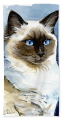 Roxy - Ragdoll Cat Portrait Beach Sheet