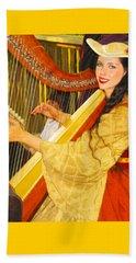 Royal Angelic Harpist  Beach Towel