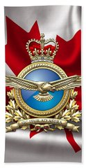 Royal Canadian Air Force Badge Over Waving Flag Beach Towel