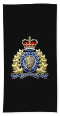 Royal Canadian Mounted Police - Rcmp Badge On Black Leather Beach Towel
