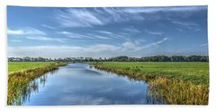 Royal Canal And Grasslands Beach Towel