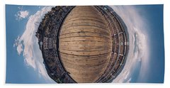 Beach Towel featuring the photograph Royal Gorge Bridge Tiny Planet by Chris Bordeleau