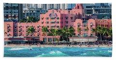 Royal Hawaiian Hotel Surfs Up Beach Towel by Aloha Art