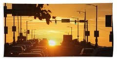 Rte 50 Bridge At Sunset Beach Towel