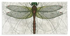 Ruby Meadowhawk Dragonfly Beach Towel
