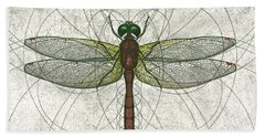 Ruby Meadowhawk Dragonfly Beach Towel