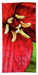 Ruby Red Trillium Beach Towel