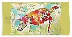 Beach Towel featuring the digital art Ruby The Turtle by Erika Swartzkopf