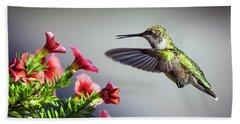 Ruby Throated Hummingbird #1 Beach Towel