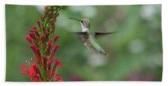 Ruby Throated Hummingbird 2016-4 Beach Sheet by Thomas Young