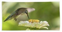 Ruby Throated Hummingbird 2016-8 Beach Sheet by Thomas Young