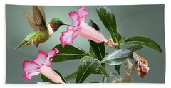 Ruby-throated Hummingbird And Desert Rose Beach Towel