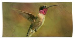 Ruby Throated Hummingbird Inflight Beach Towel by Sandi OReilly