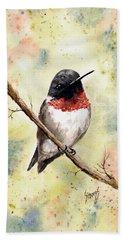 Ruby Throated Hummingbird Beach Sheet by Sam Sidders