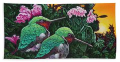 Beach Sheet featuring the painting Ruby-throated Hummingbirds by Michael Frank