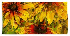 Rudbeckia Hirta Beach Sheet by Dragica Micki Fortuna