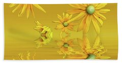 Beach Towel featuring the photograph Rudbekia Yellow Flowers by David French