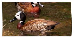 Beach Towel featuring the digital art White-faced Whistling Duck by Chris Flees
