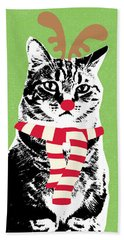 Rudolph The Red Nosed Cat- Art By Linda Woods Beach Towel