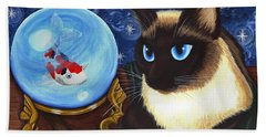 Rue Rue's Fortune - Siamese Cat Koi Beach Towel