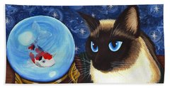 Beach Towel featuring the painting Rue Rue's Fortune - Siamese Cat Koi by Carrie Hawks