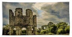 Beach Towel featuring the painting Ruins Of Mellifont Abbey by Jeff Kolker