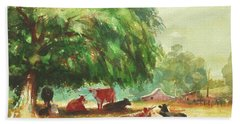 Beach Towel featuring the painting Rumination by Steve Henderson