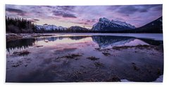 Rundle Mountain Skies Beach Sheet