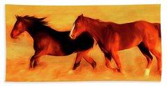 Running Horses 01 Beach Towel
