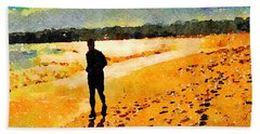 Running In The Golden Light Beach Towel