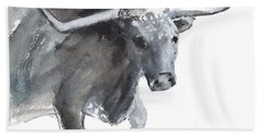 Running Texas Longhorn Watercolor Painting By Kmcelwaine Beach Towel