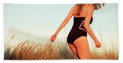 Running Unsharp In The Golden Hour Beach Towel