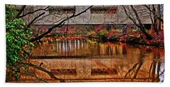 Running Waters Covered Bridge 025 Beach Towel by George Bostian