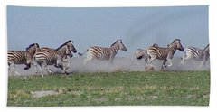 Running Zebras Beach Towel by Bruce W Krucke