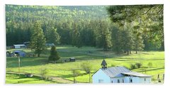 Rural Church In The Valley Beach Towel by Cindy Croal