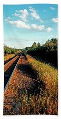 Rural Country Side Train Tracks Beach Towel