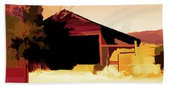 Rural Pop No 1 Hay Shed And Tree Beach Towel
