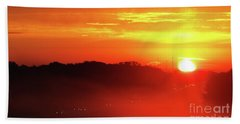 Rush Hour Begins At Sunrise I 94 To Madison Wisconsin Beach Towel