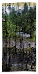 Rushing Cascade In The Andes - On Bark Beach Towel