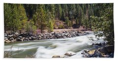 Beach Towel featuring the photograph Rushing River by Dart Humeston