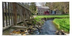Rushing Water At The Grist Mill Beach Towel
