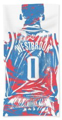 Russell Westbrook Oklahoma City Thunder Pixel Art 16 Beach Towel