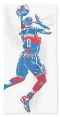 Russell Westbrook Oklahoma City Thunder Pixel Art 33 Beach Towel