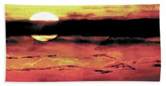 Beach Sheet featuring the painting Russet Sunset by Paula Ayers