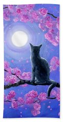 Russian Blue Cat In Pink Flowers Beach Towel by Laura Iverson