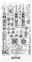 Russian Soyuz Rocket Blueprint Beach Towel by Daniel Hagerman