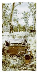 Rustic Australian Car Landscape Beach Towel